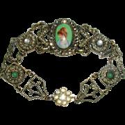 SALE Stunning 1920's Portrait Bracelet with Marcasites
