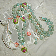 SALE Rosebud Romance Necklace and Earrings
