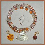 SALE Three Charms  Amber Memory Wire Bracelet