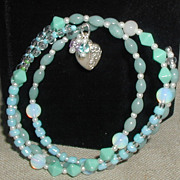 SALE Seafoam blue Bangle with Silver-Plated Heart