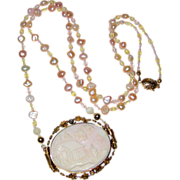 SALE Pale Pink Scenic Shell Cameo Necklace with Freshwater Pearls and Crystal Beads