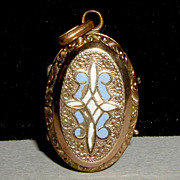 SALE Victorian Gold Filled Locket with Floral Engraving and Blue and White Enamel