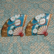 SALE Toshikane Chrysanthemum and Shamisen Fan Earrings