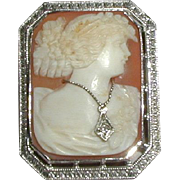 SALE Cameo en Habille with 10K White Gold Frame