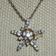 SALE Sterling and Cubic Zirconia Star Pendant
