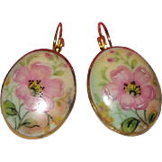 SALE Hand Painted Porcelain Earrings with Pink Wild Roses