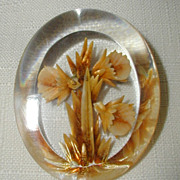 SALE Reverse Carved Lucite Daffodil Pin