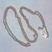 SALE Sarah Coventry 1960's Silver-tone Chain Necklace with Unusual Clasp 30""