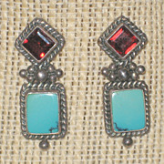 SALE Turquoise and Red Tourmaline Sterling Post Earrings for Pierced Ears