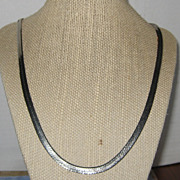 "SALE Silver-tone Flat Herringbone Necklace - 24"""