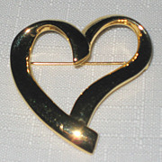 SALE Trifari Signed Gold Tone Heart Pin