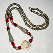 SALE Moroccan Berber Silver-colored Metal and Amber Necklace