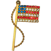 SALE Red, White and Blue Rhinestone Flag Pin