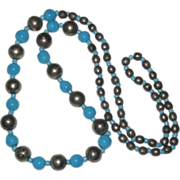 "SALE 28"" Necklace of Ceramic Blue, Silver-tone and Blue Glass Beads"