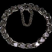"SALE 7 1/2"" Sterling Silver Starter Charm Bracelet with Hearts- 1970's"
