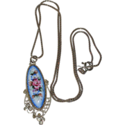 SALE Blue Floral Enamel Hand Painted Russian Rostov Finift Pendant with Sterling Silver Chain