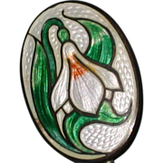 SALE Edwardian Guilloche Enamel Stick Pin with Snowdrop Flower