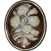 SALE Floral Sardonyx Shell Cameo Brooch or Pendant, 800 Silver - Roses and Lilies, Circa 1910