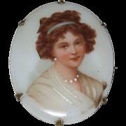 SALE Victorian Porcelain Brooch - Elisabeth Vigee LeBrun