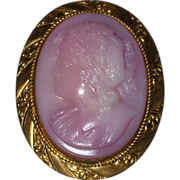 SALE Left Facing Pink Molded Glass Bacchante Cameo Brooch with Gold-filled Setting - Circa 190
