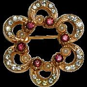 SALE Gold-tone Rosette Pin with Rhinestones, Amethyst Rhinestones and Costume Pearls