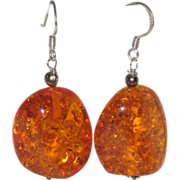 SALE Reconstituted Amber Nugget Earrings with Sterling Silver Wires