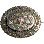 SALE Victorian Mourning or Keepsake Brooch with Rose and Flowers, Circa 1880