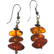 SALE Natural Polished Baltic Amber Nugget Earrings