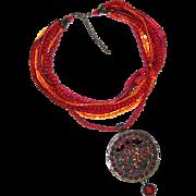 SALE Large Exotic Ethnic Inspired Pendant
