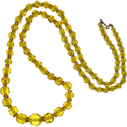 SALE Art Deco Lemon Yellow Faceted Glass Graduated Necklace with Sterling Vermeil Clasp 30""