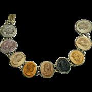 """SALE Victorian Nine Cameo Lava Bracelet - Excellent Color, 800 Silver Setting -7.25"""""""