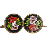 SALE Italian Micro Mosaic Earrings with Roses - Pierced Ear Wires