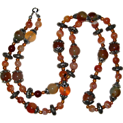 "SALE 30"" Agate Necklace in Shades of Rust, Tan and Mossy Green"