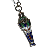 SALE Enameled Sterling Silver Egyptian Mummy Sarcophagus Pendant