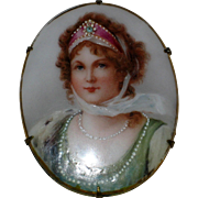 SOLD Large Queen Louise of Prussia Portrait Pin - Transfer on Porcelain with Hand Painted Deta