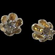 1930's 14K Yellow Gold Buttercup Diamond Stud Earrings - .03 carat each