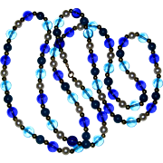 """Very Long 52"""" Bead Necklace in Blue, Aqua, Teal and Imitation Pearl"""