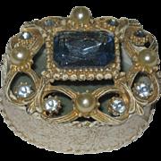 Ornate Florenza Trinket Box with Large Blue Stone