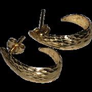Classic 14K Gold Textured Open Hoop Earrings