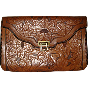 1950's Hand Tooled Leather Envelope Style Clutch Purse