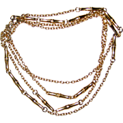 "Crown Trifari Extra Long 54"" Gold-tone Bamboo Chain Necklace 1950's"