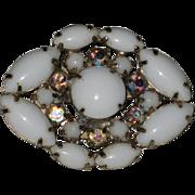 Milk Glass and Aurora Borealis Rhinestone Pin