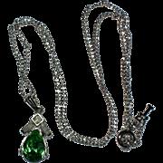 Crown Trifari Faux Emerald Petite Necklace Pendant