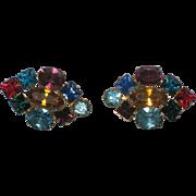 Large Colorful Screw-back Rhinestone Earrings