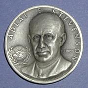 SALE Illinois Silver Statehood Medal - Adlai Stevenson