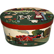 SOLD Large Hand Painted Wooden Shaker Style Box with Folk Art Farm Scene