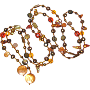 """SALE 53"""" Lariat Necklace with Mother of Pearl, Freshwater Pearls and Crystal Beads"""