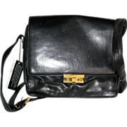 SOLD Perlina Black Glove Leather Messenger Style Handbag with Key - New