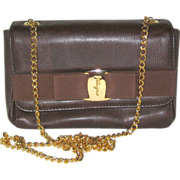 Brown Embossed Calfskin Leather Ferragamo Handbag with Shoulder Chain and Vara Bow