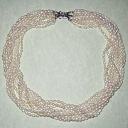 SOLD Freshwater Teardrop Cultured Pearl Necklace with Sterling Filigree Clasp - Nine Strands